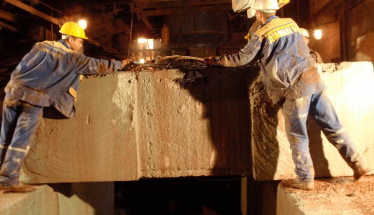 Алмазная канатная резка фундамента под дробилкой на ЗЖРК-Запорожский железнорудный комбинат